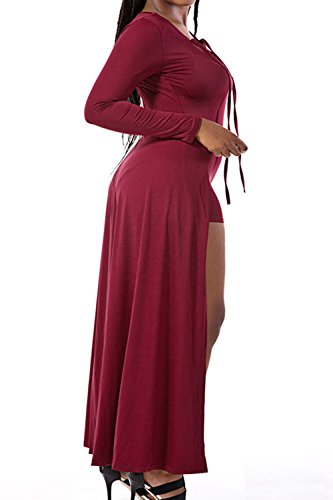 La Mujer Es Elegante Deep V Neck Long Sleeve Maxi Falda Vendaje Jumpsuit Shorts Leg Peleles Red