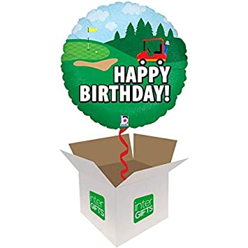 InterBalloon Helium Inflated Happy Birthday Golf Balloon Delivered In A Box