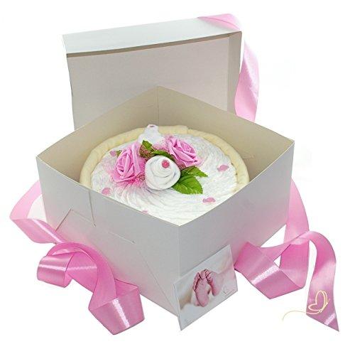 Pampers Windeltorte für Mädchen in Cakebox rosa - Geschenke zur Geburt - dubistda© handmade dubistda.de