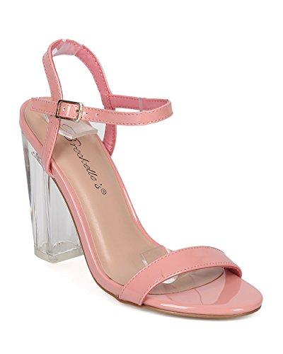 Breckelles Open Toe Sandalo Con Tacco Largo - Tacco Grosso Lucite - Sandalo Con Cinturino Alla Caviglia - Brevetto Rosa Gi17