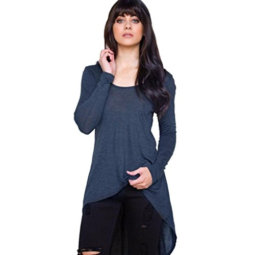 Sunbona Women's Irregular Solid Loose Long Sleeve Casual Ladies O-neck Blouse Top T-shirt (Asian Size:M, Navy) by Sunbona