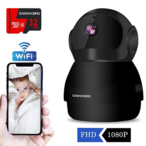 WiFi Security Indoor Camera 1080P, Include 32GB Card FHD Wireless IP Pet Baby Monitor Cam,Home Surveillance Dome Nanny Cameras,Two-Way Audio,Motion Detection