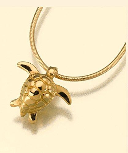 Gold Vermeil Sea Turtle Cremation Pendant Attractive Black Velvet Gift (Vermeil Turtles)