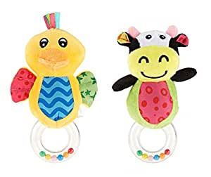 Pixie Duck Rattle Toy and Cow Rattle Toy