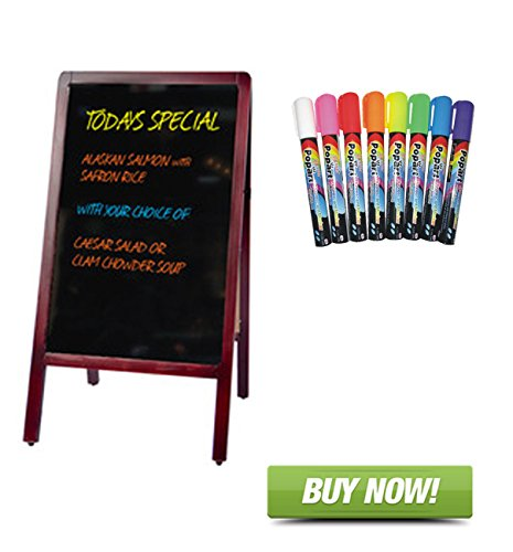 Signworld Double Side Sidewalk A Frame Marker Board with 8 Color Fluorescent Liquid Chalk Markers ()