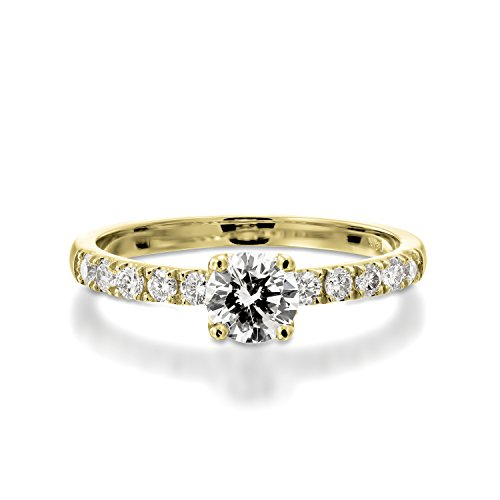 0.65 CT Diamond Engagement Ring Genuine Round Cut Main Stone J-K/I1-I2 18K Yellow Gold Pave - IGI Certified