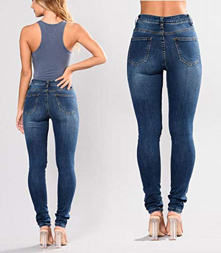Bleu Mode Loisirs Pantalons Jeans Dchiquet Taille Femmes Crayon Broderie lastique Fonc Jean Longue Grande Florale O1pw5qd