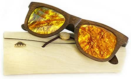 Wooden Polarized Sunglasses, Wayfarer Style, 100% Real Wood by Rooted Shade