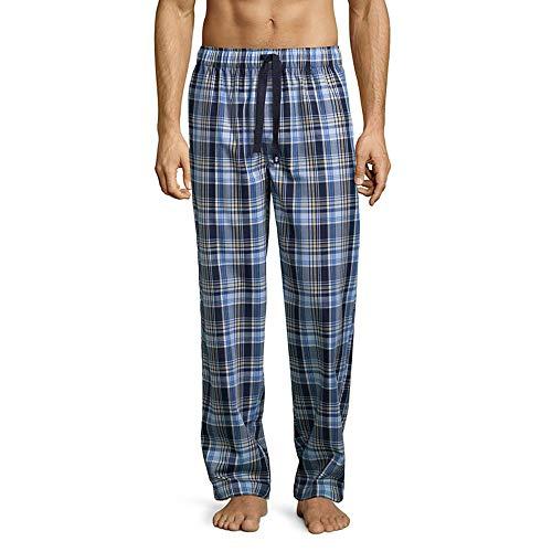 IZOD Men's Poly-Rayon Yarn-dye Woven Sleep Pant, Navy/Yellow, -