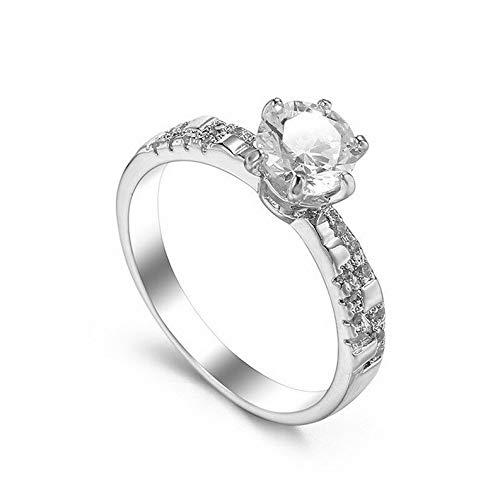 Waldenn White AAA CZ Stylish Band Womens 925 Silver Wedding Anniversary Ring Size 6-10 | Model RNG - 26319 | 10