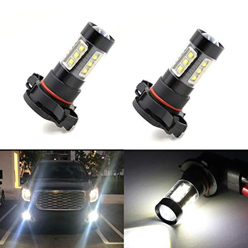 2504 PSX24W Fog Light Bulbs LED 80W Ultra Extremely Bright 6000K 16 SMD White Xenon Spot Light Bulbs Lamps (Pack of 2)
