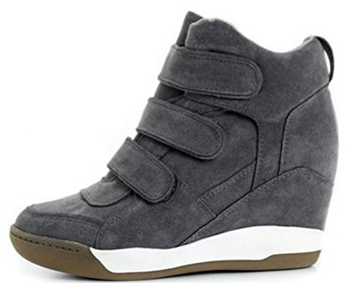 Wedges Sneakers Voor Dames Hoge Top, Hoge Verborgen Hiel Wandelschoenen Mode Zwart Grijs Bruin Marine Grijs
