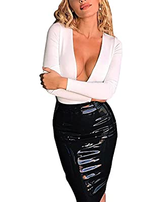 Ekaliy Women Bodycon Faux Leather Short Skirts Knee Length