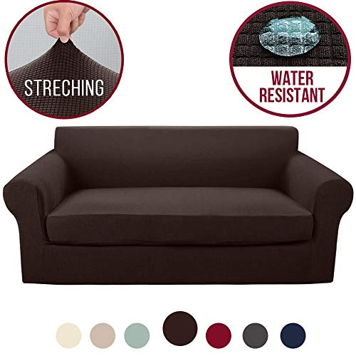 (Vailge 2-Piece High Stretch Jacquard Sofa Slipcover, Water Resistant Sofa Cover with Separate Cushion Cover, Machine Washable Couch Covers/SlipCover for Dogs,3 Cushion Couch,Kids,Pets(Sofa:Chocolate))