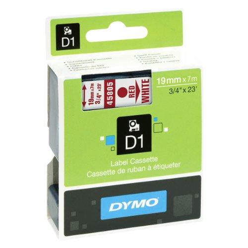 Dymo D1-Schriftband 19mm x 7m rot auf weiß