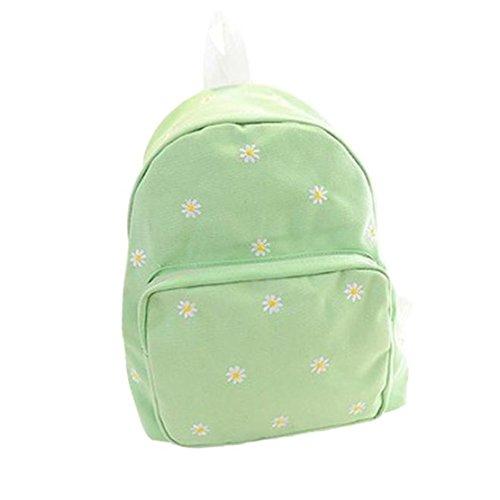 Clode® Mochila Vintage bordado margaritas mochila escuela Campus libro bolsa de lona Verde claro