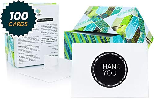 Thank You Cards Bulk - 100 Thank You Cards with Self-Seal Envelopes