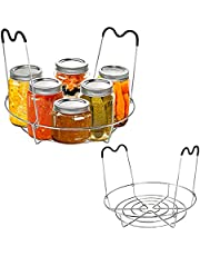 CQACQ Canning Rack with Silicone Handle,Sturdy Stainless Steel Canner Rack Rests Canning Supplies for Regular Wide Mouth Mason Jars Ball Jars(Jars not Included)