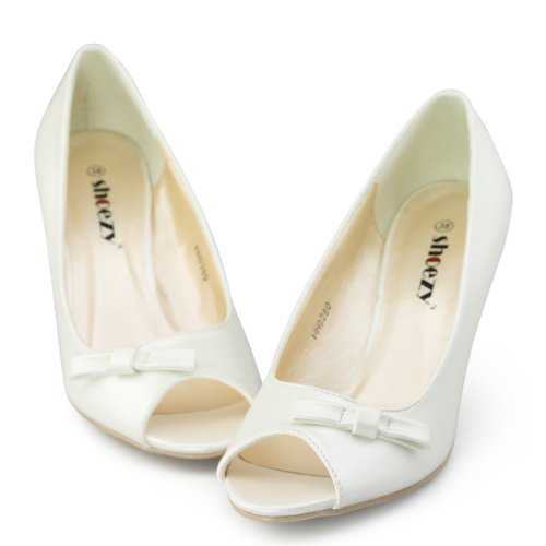 Shoezy Ladies Peep Toe Pu Leather Bridesmaid Casual Heels Court Shoes