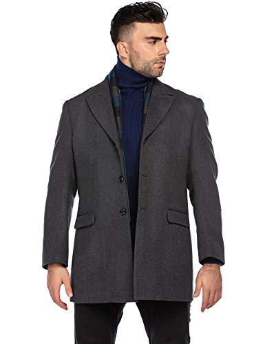 COOFANDY Mens Long Wool Winter Coat Stylish Detachable Scarf Slim Fit Single Breasted Pea Coats (Grey L)