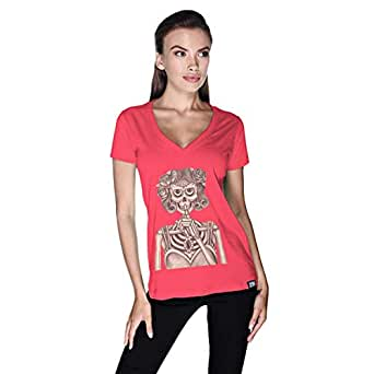 Creo Miss Coco Skull T-Shirt For Women - M, Pink