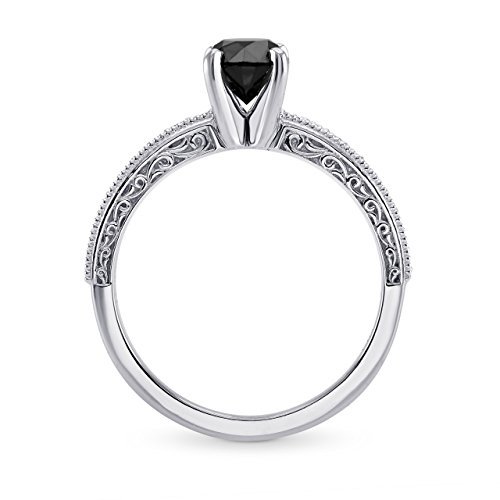 086Cts-Black-Diamond-Engagement-Side-Stone-Ring-Set-in-14K-White-Gold-Size-6