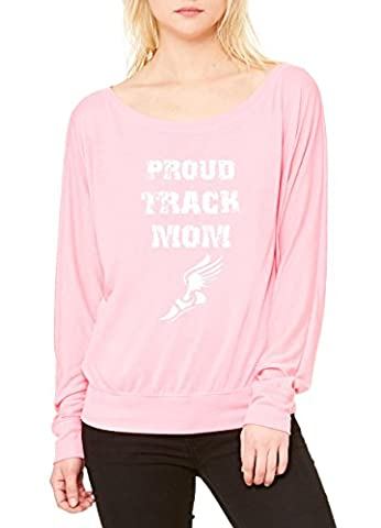 Ugo Proud Track Mom Runner Angel Mom Support Running Hiking Sports Gift 4 Halloween Women's Flowy Long Sleeve Off Shoulder (Neon Pink Track Spikes)