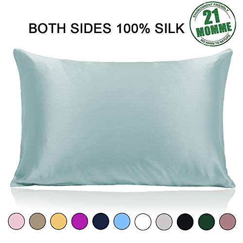 Ravmix Slip 100% Pure Mulberry Silk Pillowcase Queen Size for Hair and Skin with Hidden Zipper, 21 Momme 600TC Hypoallergenic Soft Breathable Both Sides Silk Pillow Case, 20×30inch, Aqua Green