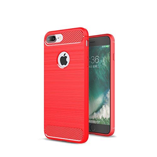 Custodia per iPhone8 Plus ,Custodia per iPhone7 Plus ,ZXLZKQ Rosso Lusso Cover Morbido TPU Silicone Case Custodia Shockproof Protezione Bumper Back per iPhone8 Plus / iPhone7 Plus