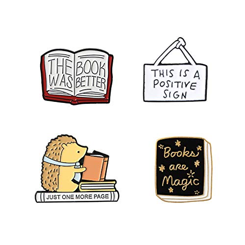 Cute Enamel Lapel Pins Sets Cartoon Animal Plant Fruits Foods Brooches Pin Badges for Clothing Bags Backpacks Jackets Hat DIY (Hedgehog reading books Set of 4)