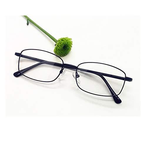 Blue Light Blocking Reading Glasses Metal Rectangle Full Rim Eyeglasses for Women and Men Black Reader - Metal Eyeglasses Rim