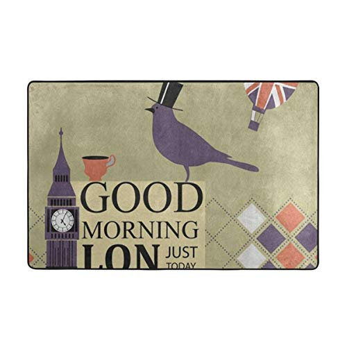 Carpets Floor Mat Cover Floor Rug Indoor Outdoor Area Rugs Garden Office London Big Ben Bird Union Jack Balloon Door Mat Bathroom Pet Rugs Bedroom Carpets Doormats 60 X 39 Inches]()