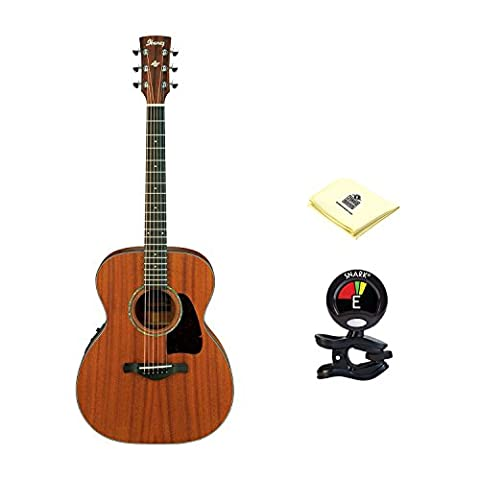 Ibanez AC240OPN Artwood Series Grand Concert Acoustic Guitar Natural Open Pore with Clip On Tuner and Zorro Sounds Guitar Polishing (Ibanez Ac240)