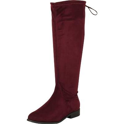 Amazon.com | Cambridge Select Women's Back Corset Lace Low Heel Knee-High Riding Boot | Knee-High
