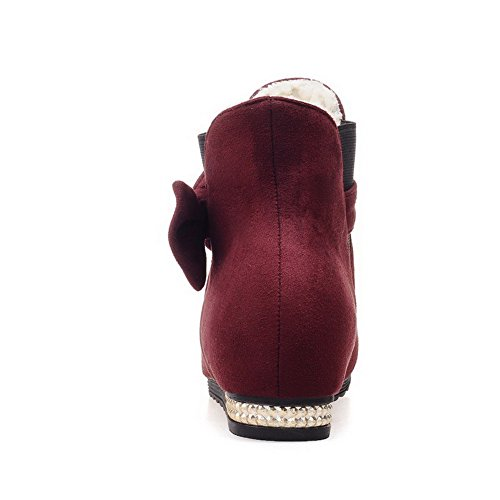 Imitated Pull Allhqfashion top Solid Women's Claret Suede on Boots Low Heels Low w65xXq5A4