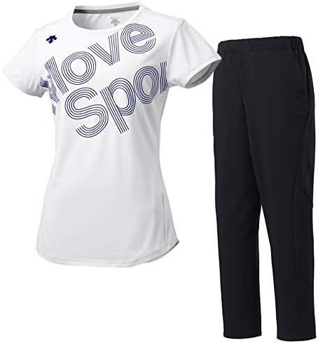 デサント(DESCENTE) レディース サンスクリーン 半袖Tシャツ&ロングパンツ上下セット(ホワイト/ブラック) DMWOJA50-WH-DMWOJD83-BK