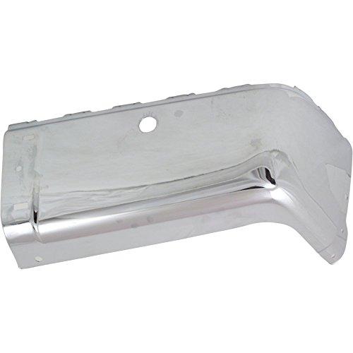Bumper End compatible with Chevrolet Silverado Sierra 07-14 Rear Chrome W/Sensor Holes Right Side Steel (Rear Side Bumper End)