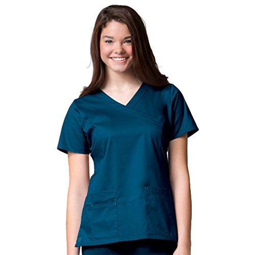 Princess Blossoms - Blossom By Maevn Women's Princess Seam Mock Wrap Solid Scrub Top X-Large Caribbean/Tealblue