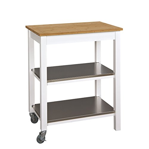 Svitlife Bamboo Countertop 3-tier Stainless Steel Kitchen Island Cambridge Portable Furniture Home Work Alexandria Utility Finish (Island Kitchen Cambridge Crosley)