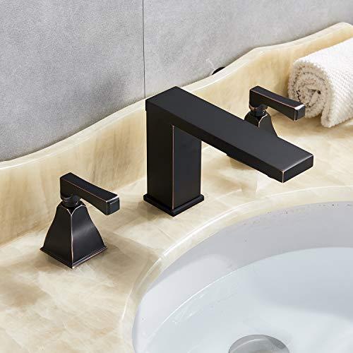 Senlesen 8-16 Inch Widespread Three Holes 2 Knobs Bathroom Tub Vanity Sink Faucet Oil Rubbed Bronze