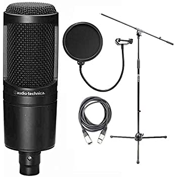 audio technica at2020 cardioid condenser microphone w axcessables microphone stand. Black Bedroom Furniture Sets. Home Design Ideas