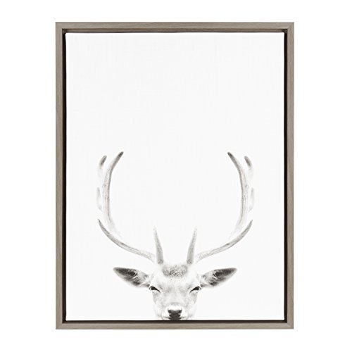 - Kate and Laurel Sylvie Deer with Antlers Black and White Portrait Gray Framed Canvas Wall Art by Simon Te Tai