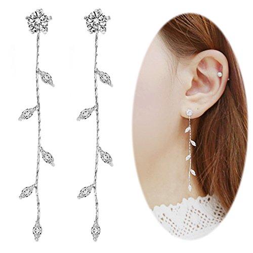 Leaf Chandelier Dangle Earrings Ear Studs Tassel Crawler Earrings Cuff Climber Rhinestone Pierced Clip on Jewelry Silver Plated