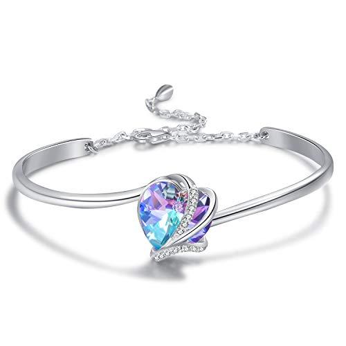 AOBOCO 925 Sterling Silver Love Heart Adjustable Bangle Bracelets-Blue Purple Crystals from Swarovski I Love You Bracelet HypoallergenicFine Jewelry Gift for Women Girls (Blue Purple Bracelet) ()