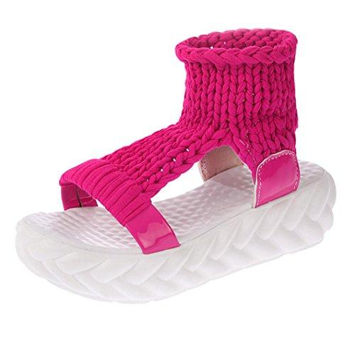 Süßigkeit Farbe gewebte Sandalen, Kaiki Damen Sandalen Sommer Schuhe auf Plattform Gladiatoren Damenschuhe Brot unten Hot Pink
