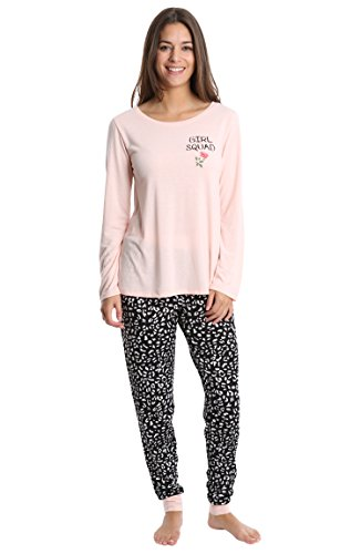 Fleece Lounge Set - WallFlower Women's Pajama Pant Set - Long Sleeve Sleep Shirt & PJ Lounge Bottoms - Pale Blush W. Plain Leopard, Medium