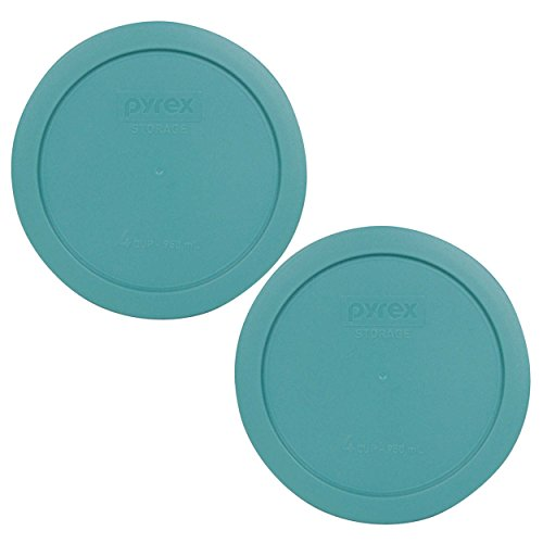 Pyrex 7201-PC Round 4 Cup Storage Lid for Glass Bowls (2, Turquoise)