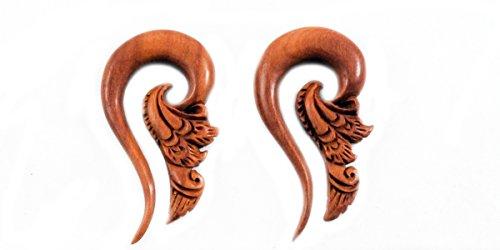 Bandaru Organics Sawo Wood Tribal Floral Hook (Gauge Organic Sawo Wood)