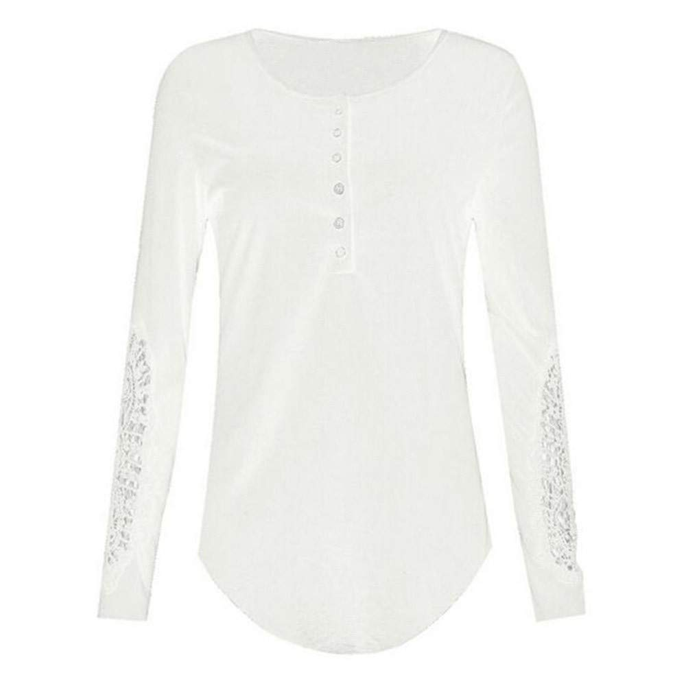 Women Henley Shirt Long Sleeve Casual Ribbed Scoop Neck Button Up Pullover Tops Blouse Tunic Shirts (XXL, White)