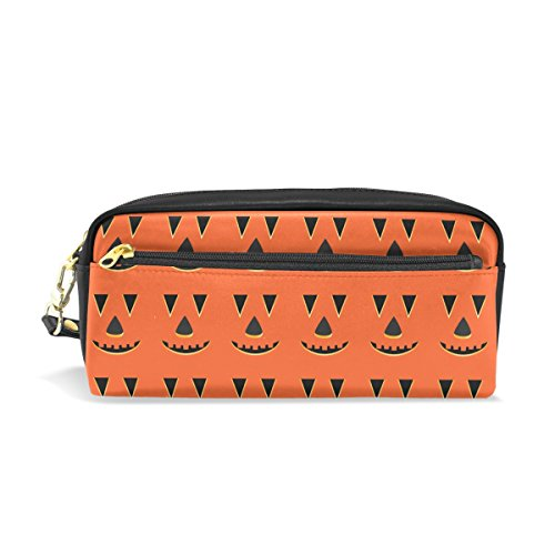 LORVIES Halloween Pumpkin Faces Pattern Portable PU Leather Pencil Case School Pen Bags Stationary Pouch Case Large Capacity Makeup Cosmetic Bag -